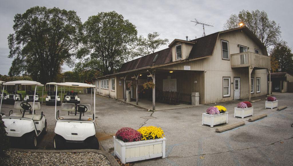 Chicken Trail member Cricket Ridge exterior showing golf carts in Batesville, Indiana.