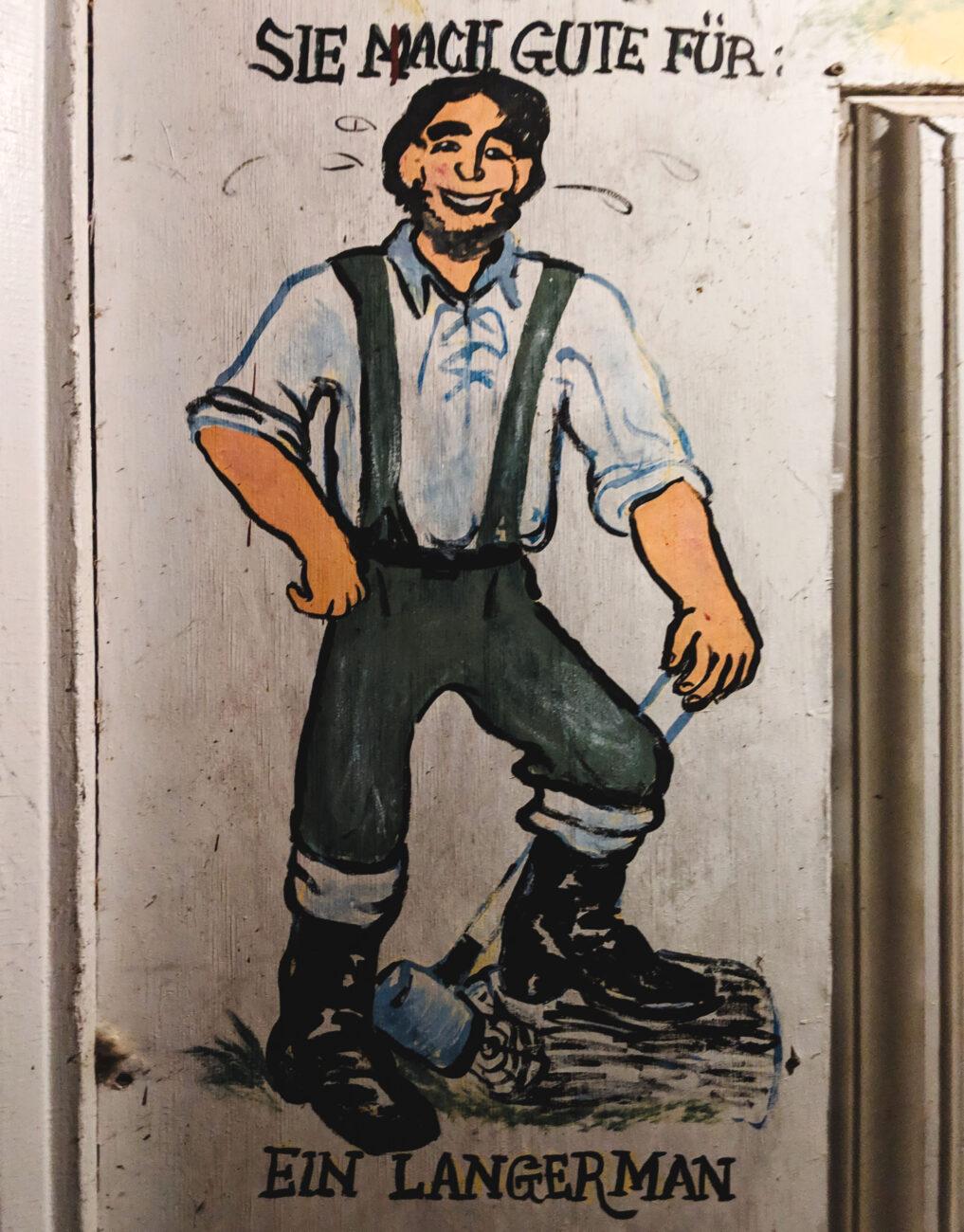 "Painting of German ""Langerman,"" or tall man, outside the Brau Haus in Oldenburg, Indiana."