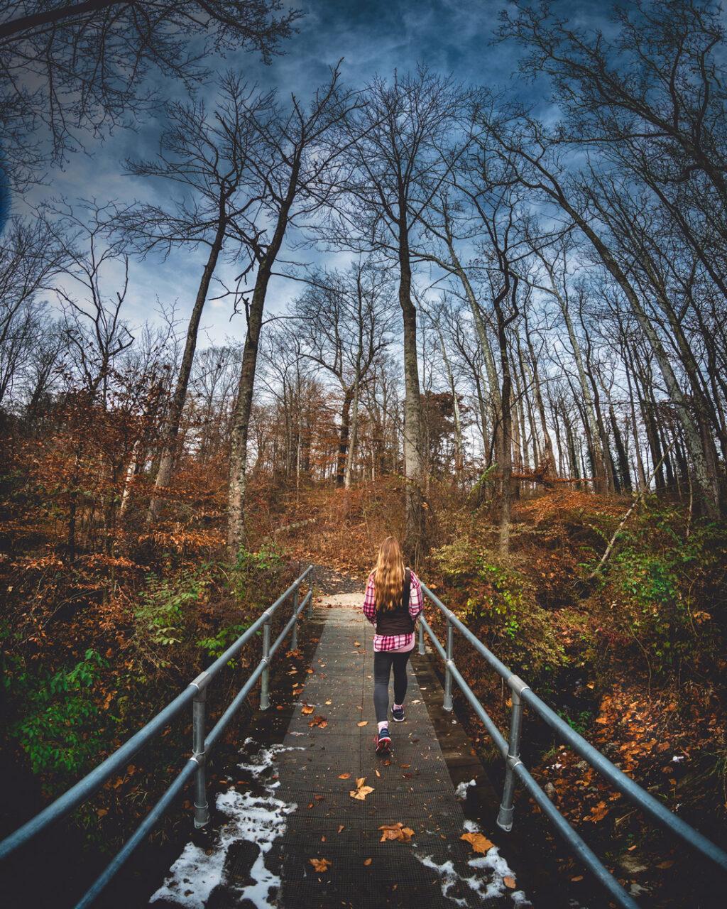 Woman hiking in woods crossing a footbridge.