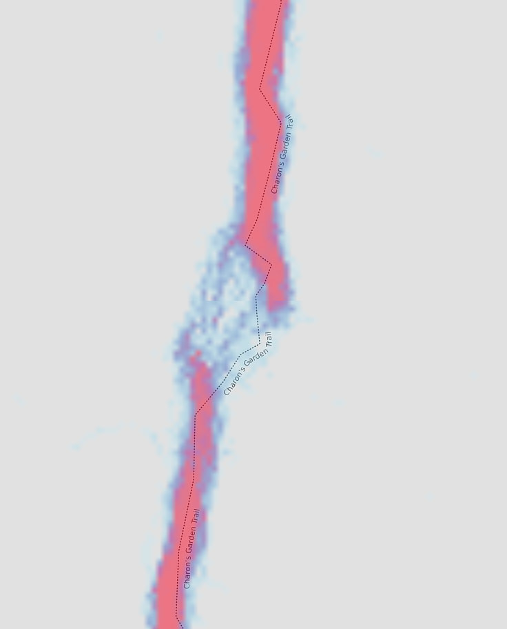 Red heatmap signature on a map showing a break in the line near the Valley of Boulders on Charon's Garden Trail.