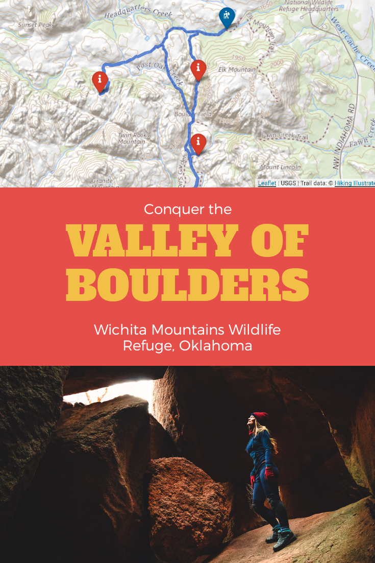 Pinterest board showing article title 'Conquer the Valley of Boulders, Wichita Moutains Wildlife Refuge, Oklahoma' with a map and pin graphic and photo of woman hiking in Charon's Garden.