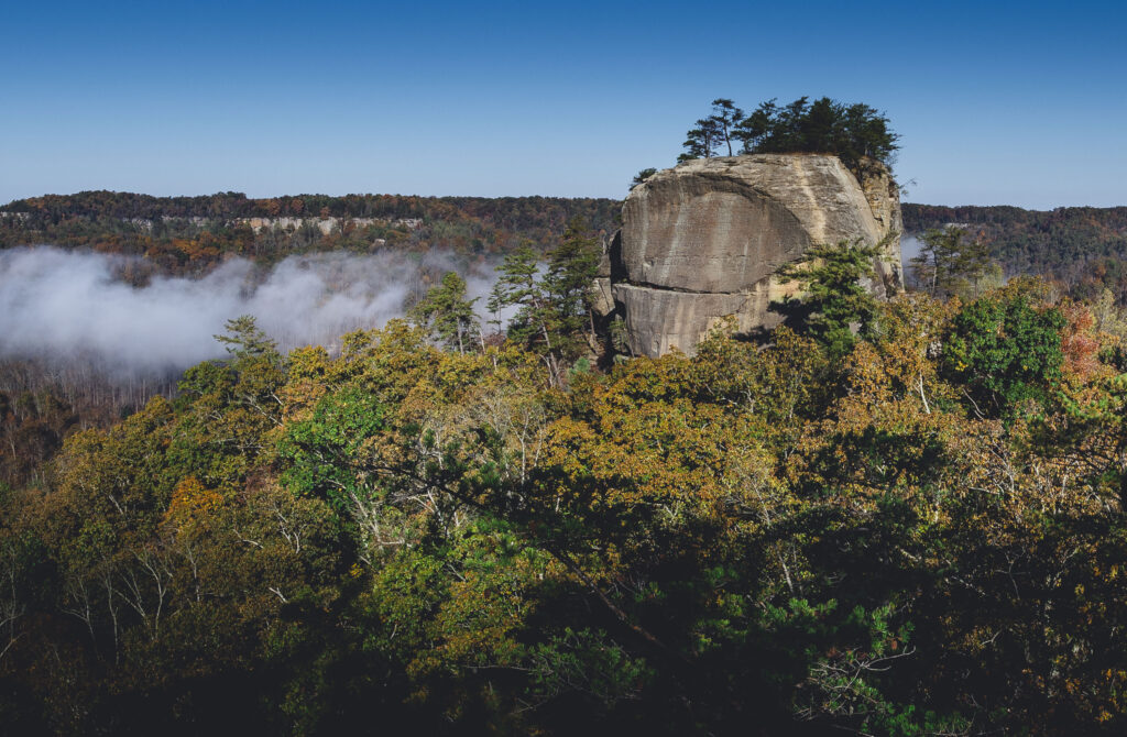 Large bluff known as Courthouse Rock surrounded by the wooded Red River Gorge in Kentucky.