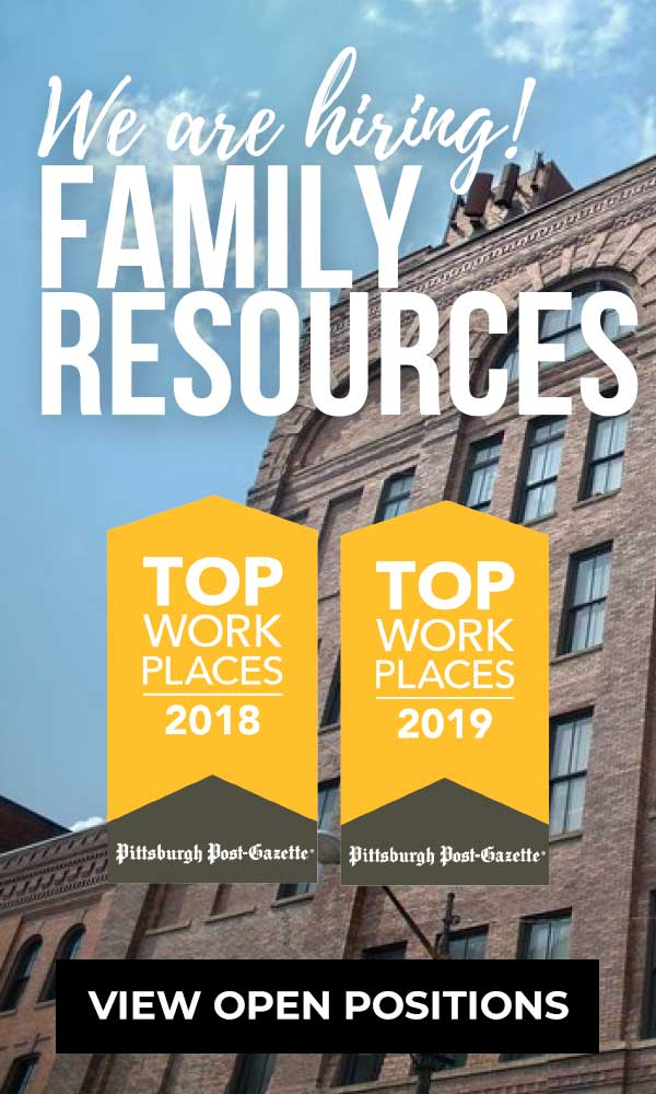 Text: We're Hiring! Family Resources. Click to View Open Positions