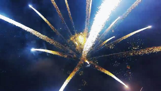 Drone Flies Over Fireworks Display