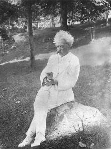 Mark Twain with his cat
