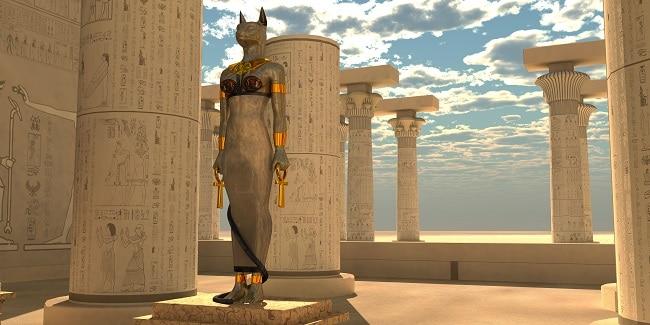Bastet Egyptian cat goddess large statue