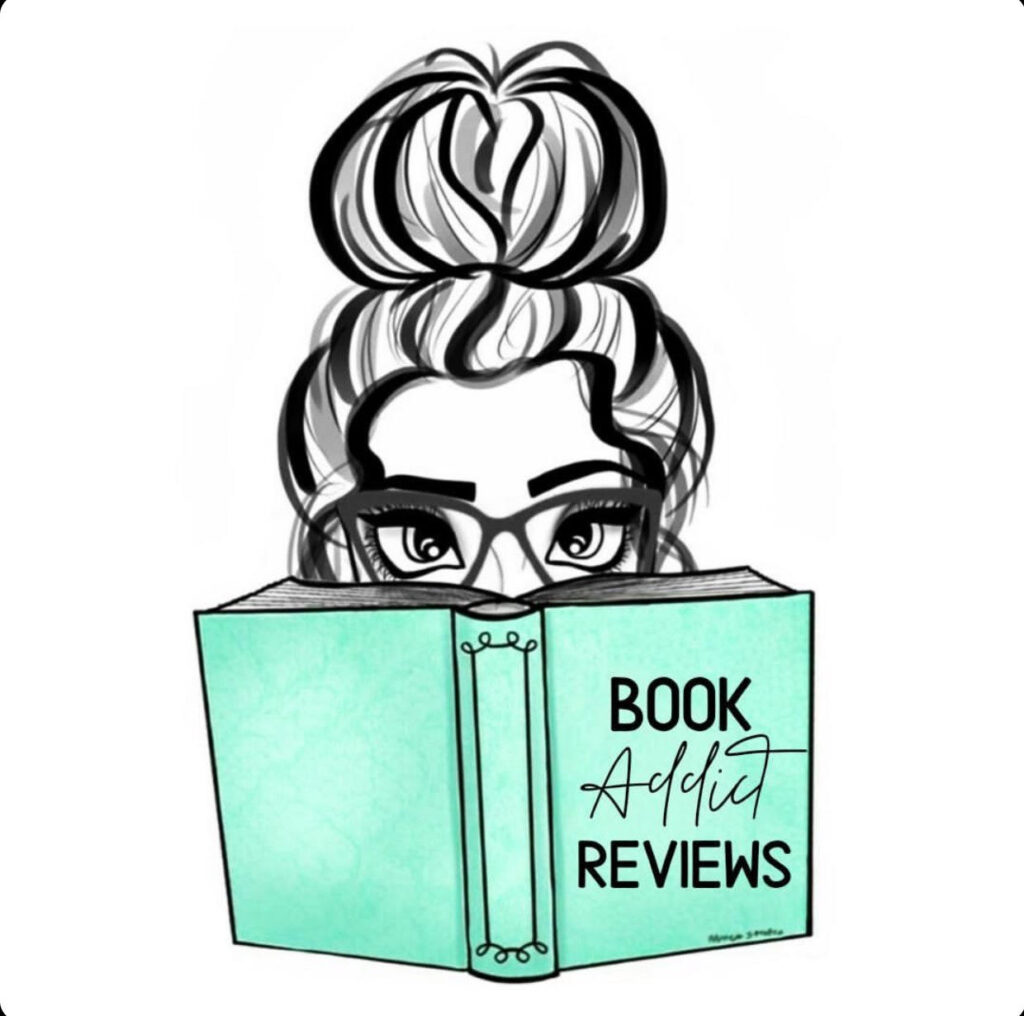 Book addict reviews main logo, placed to tie in colors and signature logo.