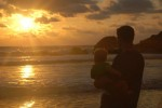 Playa Ventanas Costa Rica sunset baby dad