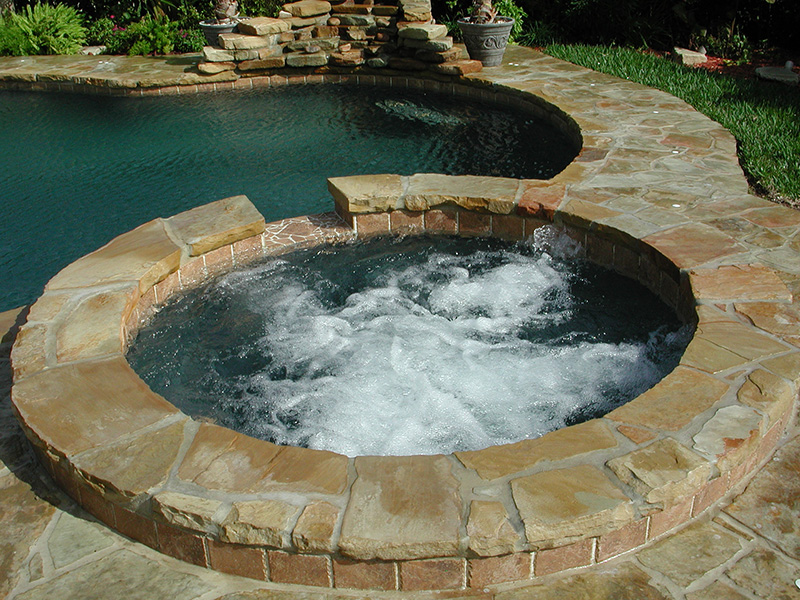 Bubbling Spa with Flagstone