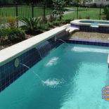 Inground Concrete Pool with Blue Tiles