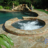 Round Spa with Huge Flagstone Patio