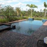 Infinity Pool with Pavers and Spa