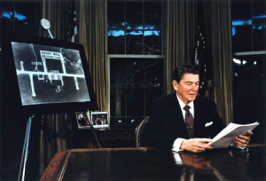 On March 23, 1983 President Reagan unveiled SDI, the strategic defense initiative, which some say bankrupted the Soviet Union.