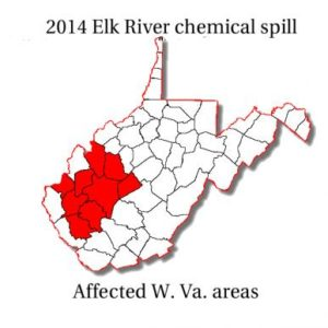 Parts of West Virginia most impacted by the spill.
