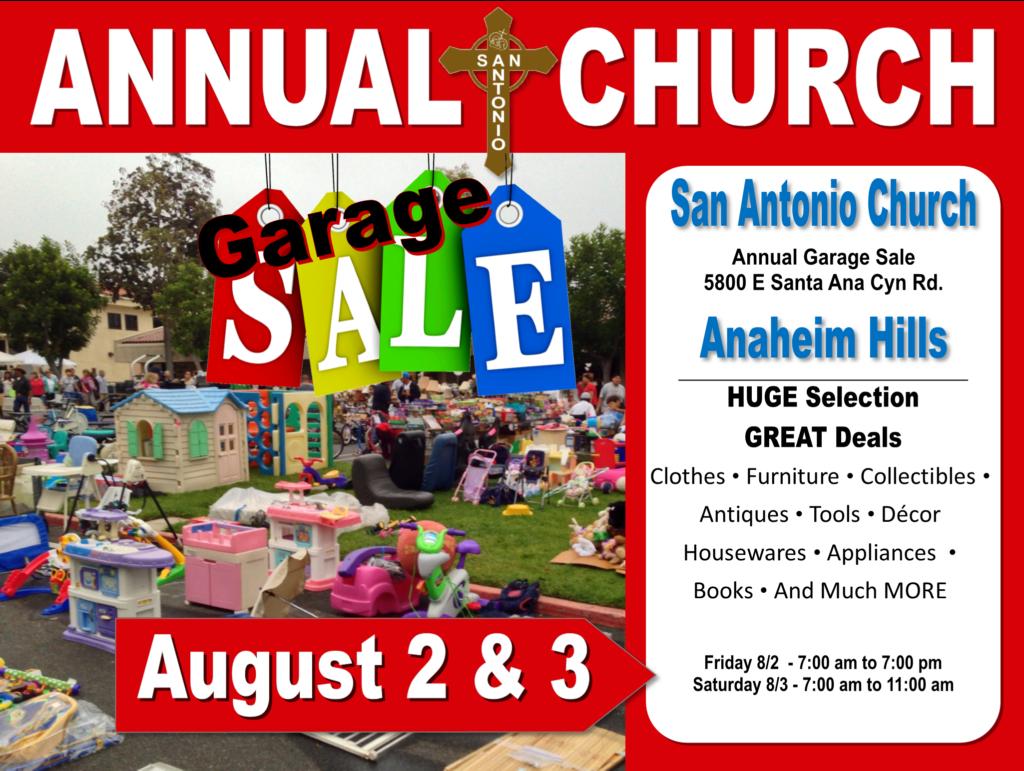 Annual Garage Sale: Aug 2 & 3 | San Antonio Catholic Church