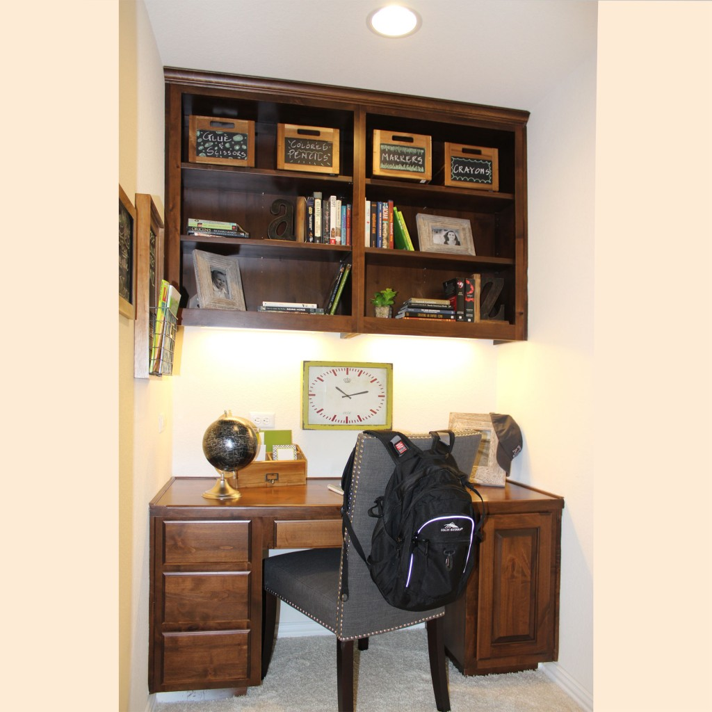 Burrows Cabinets' built in desk with open bookshelf upper cabinet in knotty alder