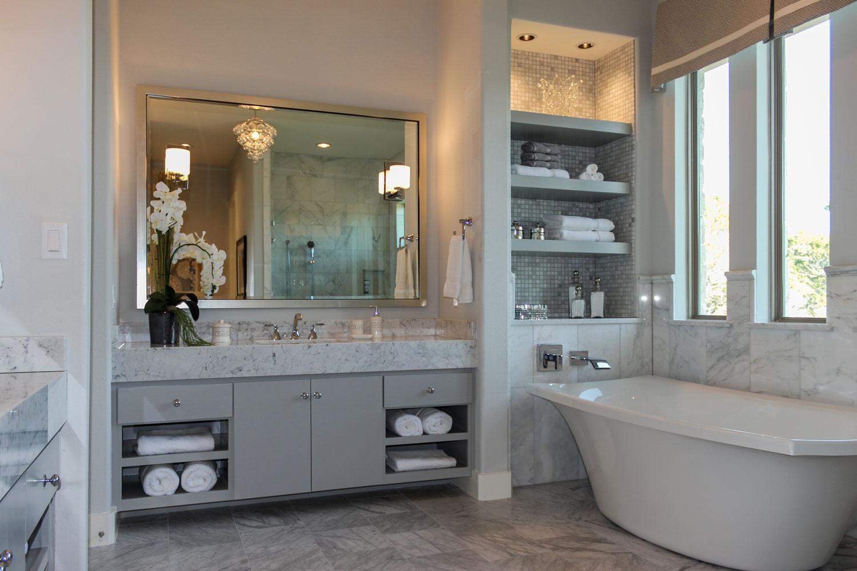 Burrows Cabinets modern gray bathroom vanity cabinets with SoCo doors