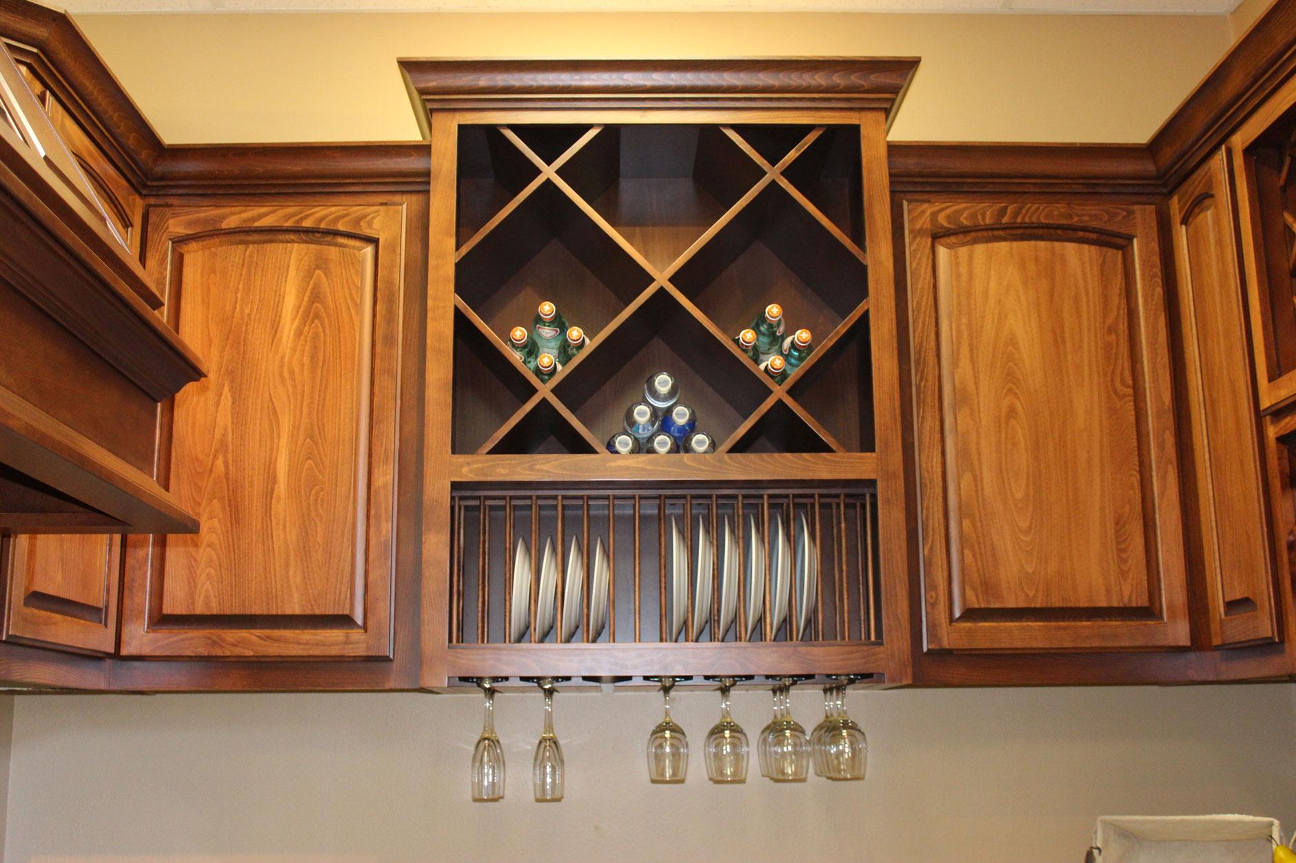 Custom wood plate racks, stemware racks and big x wine cubes