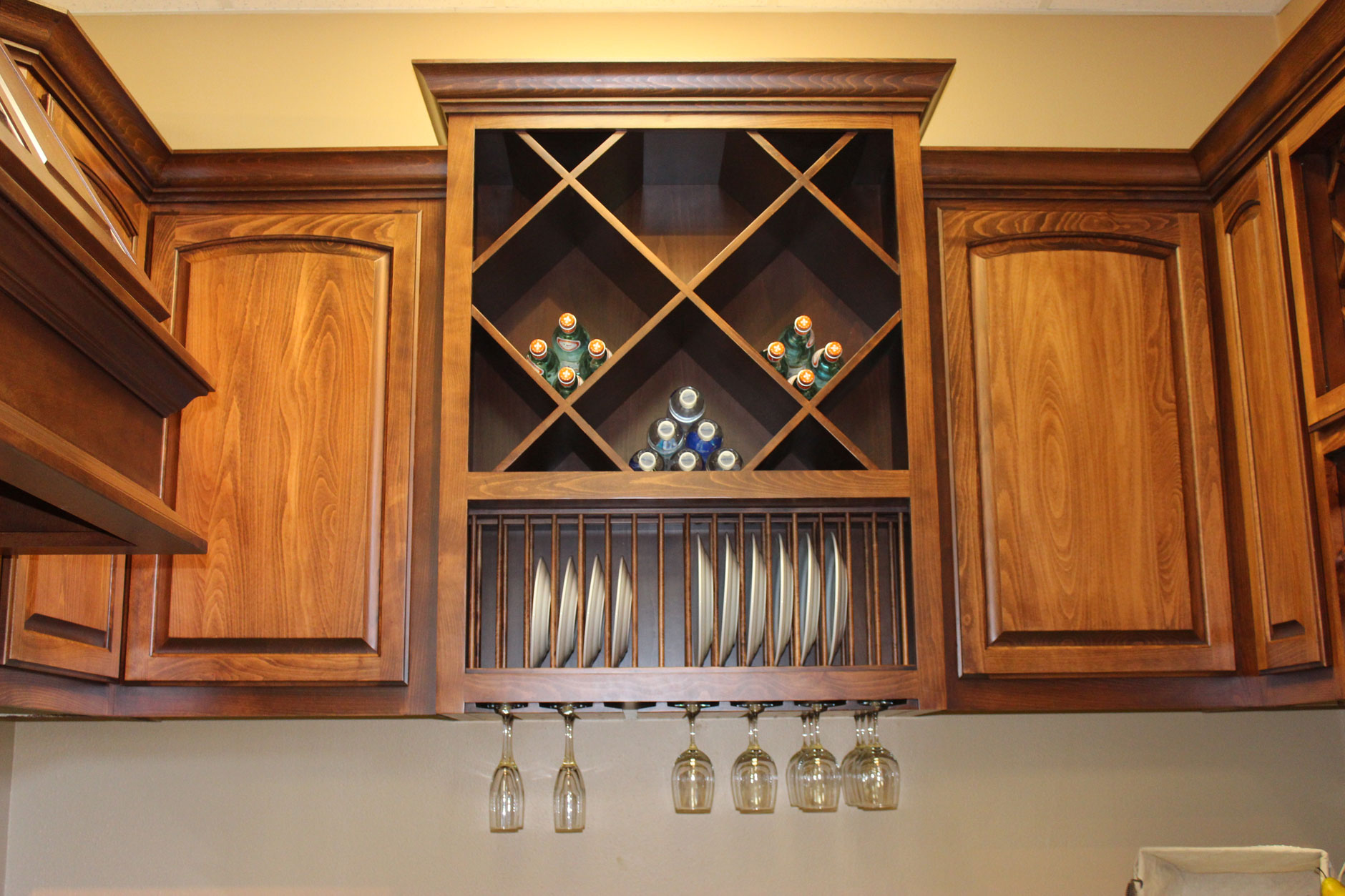 Custom wood plate racks, stemware racks and big x wine cubes