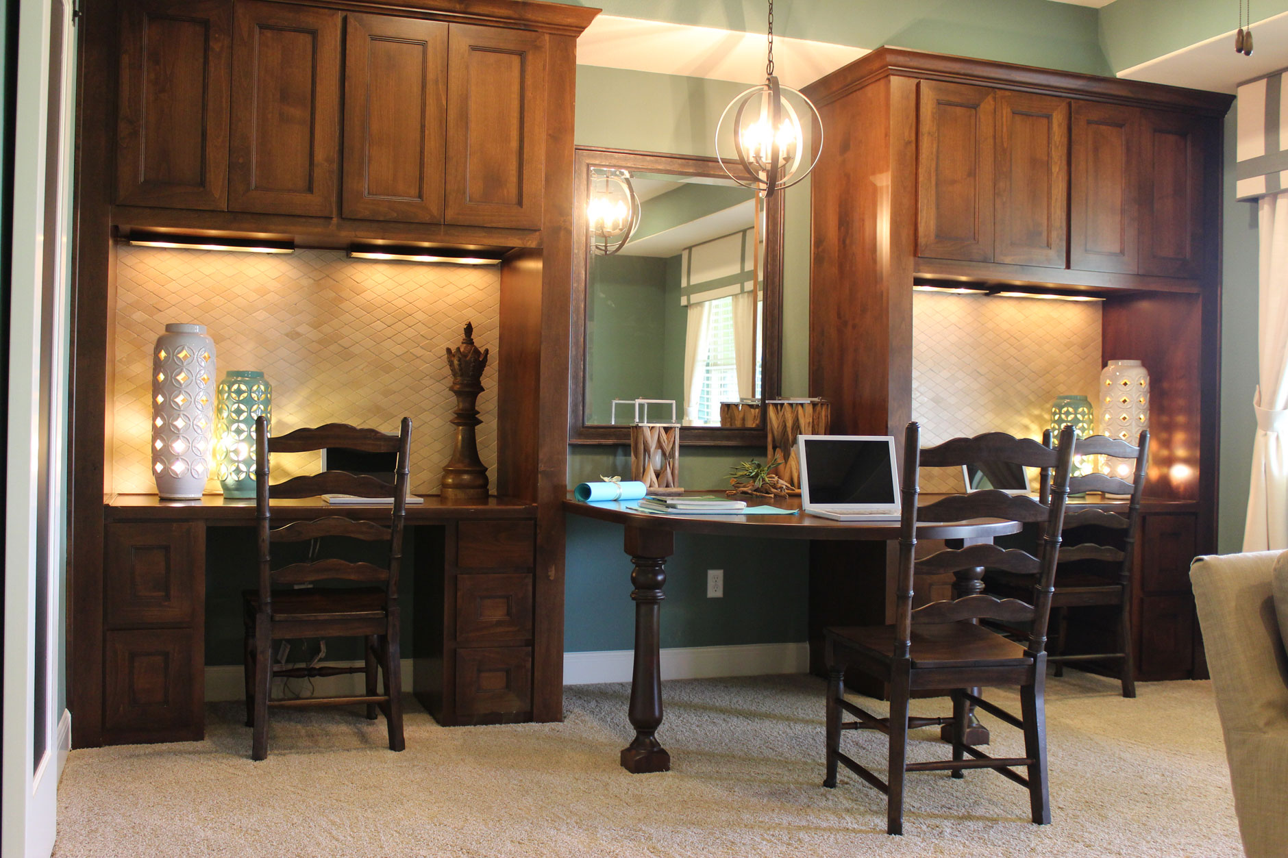 Burrows Cabinets' loft with 3 built in desks and Terrazzo doors