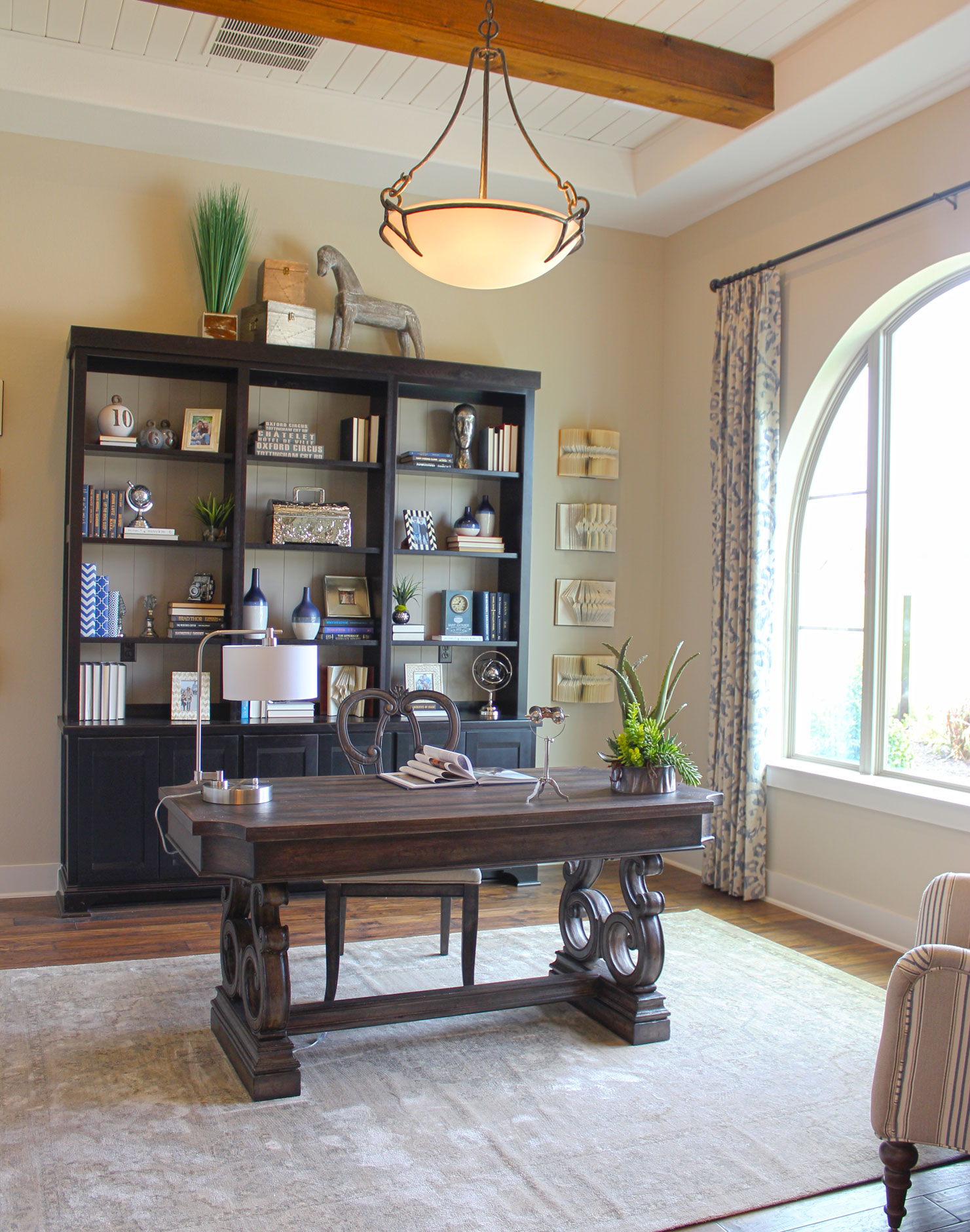 Burrows Cabinets Study with lower cabinets and open upper shelves in Beech Rye with Briscoe door design