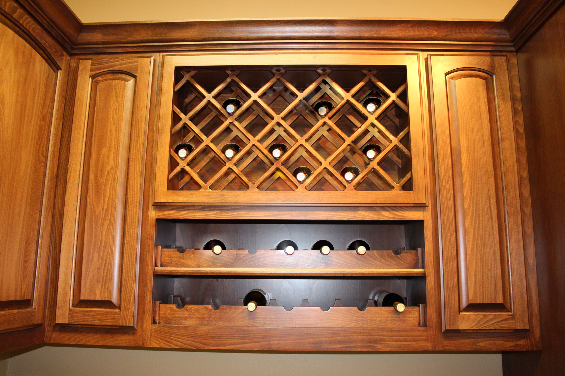 Lattice Wine Rack over Scalloped Wine Rack