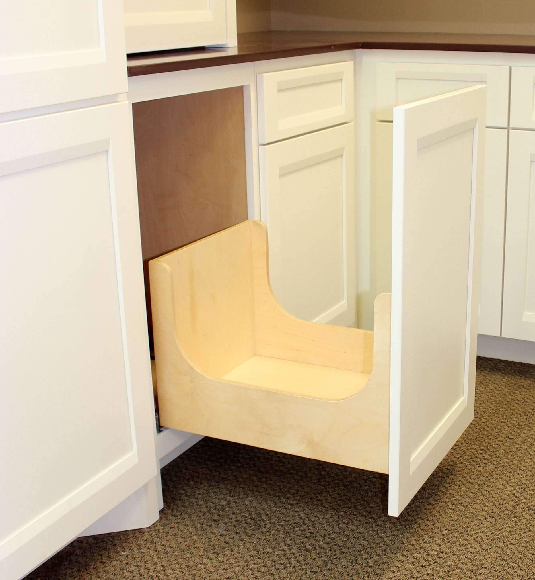 Pull Out Shelves Garbage And Recycling Burrows Cabinets Central Texas Builder Direct Custom Cabinets