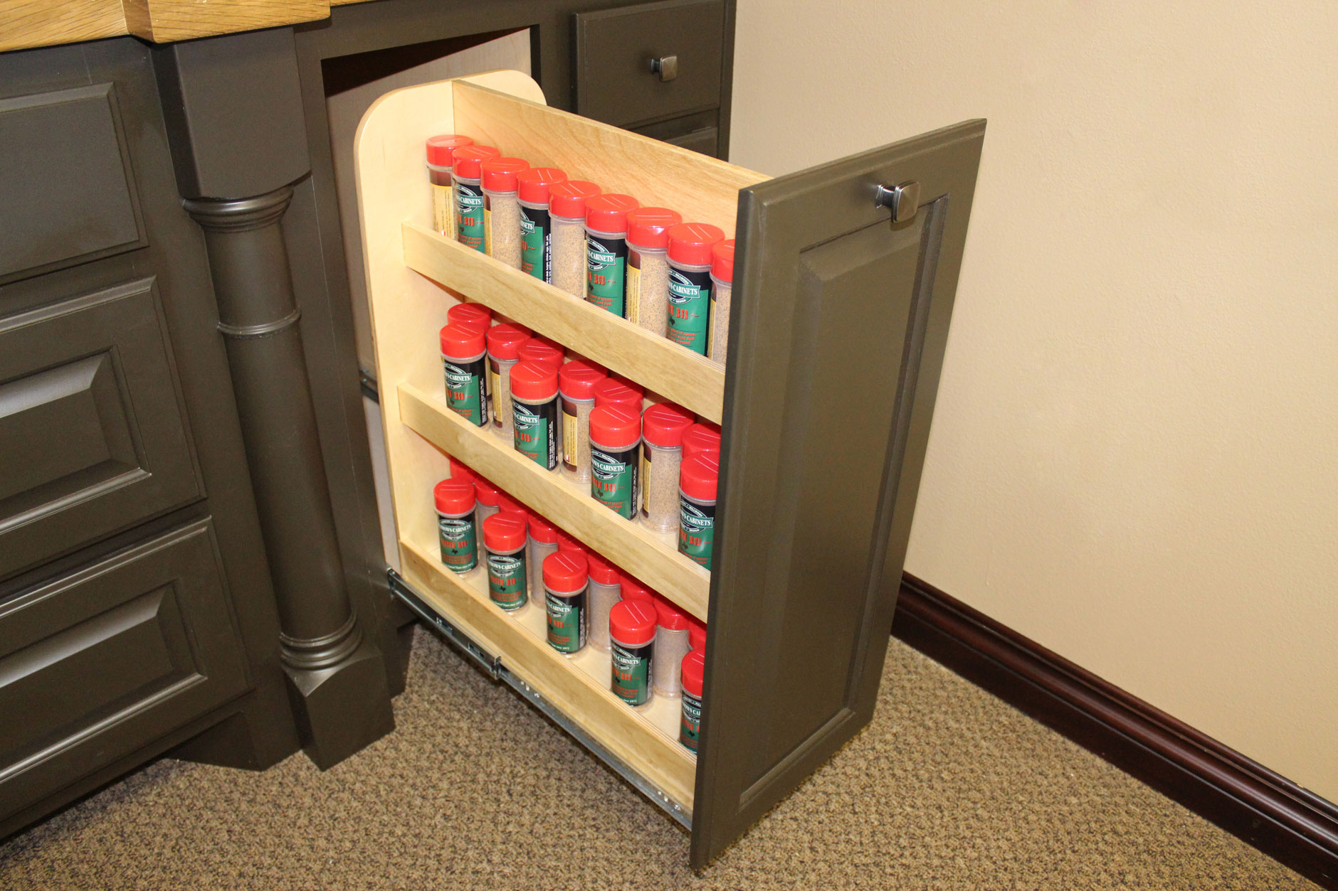 Spice rack pull out cabinet shelf