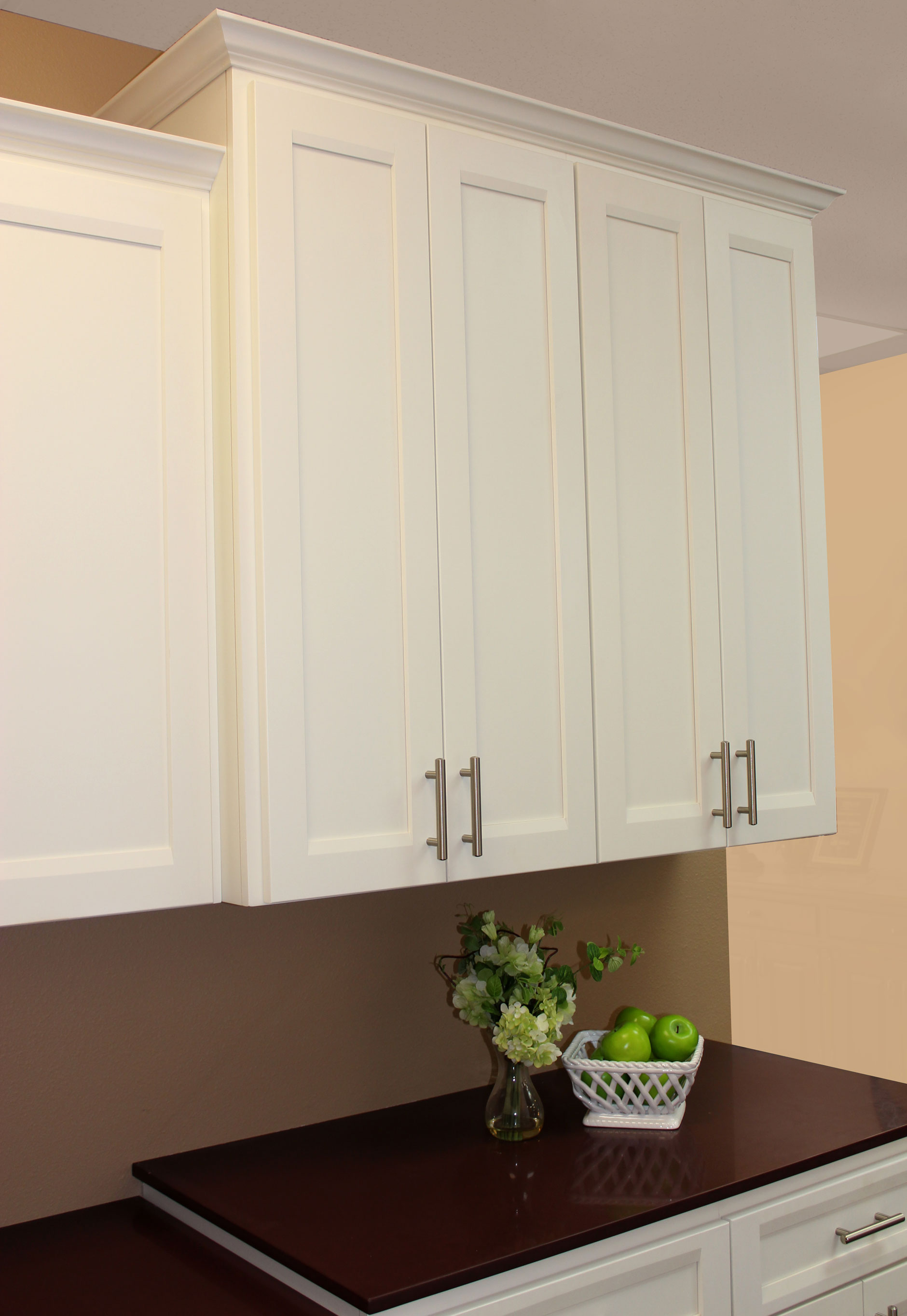 Kitchen upper cabinet bumped up and out