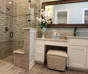 Burrows Cabinets white master bath cabinets in Camley style