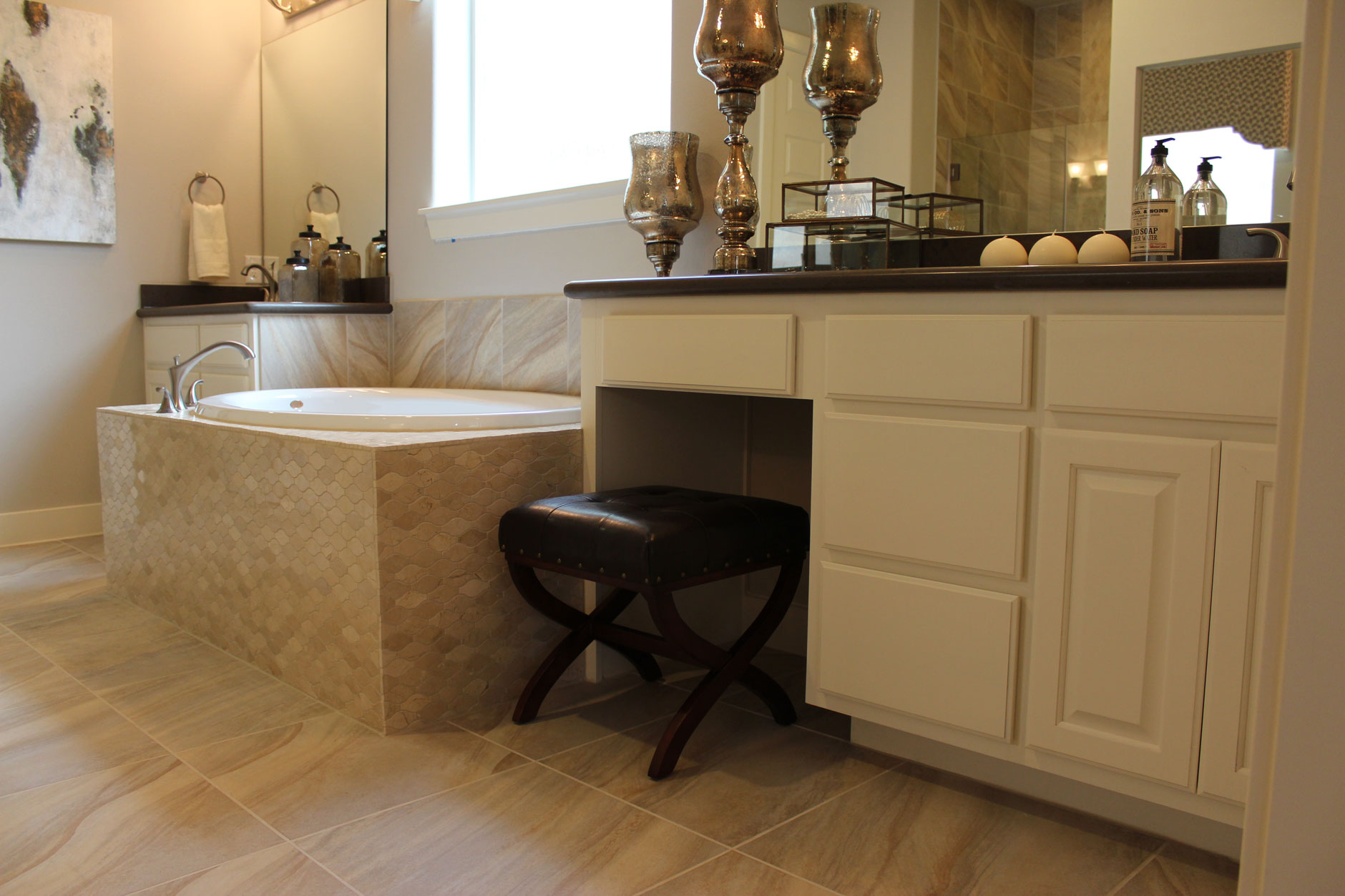 Master Bath cabinets in Bone by Burrows Cabinets