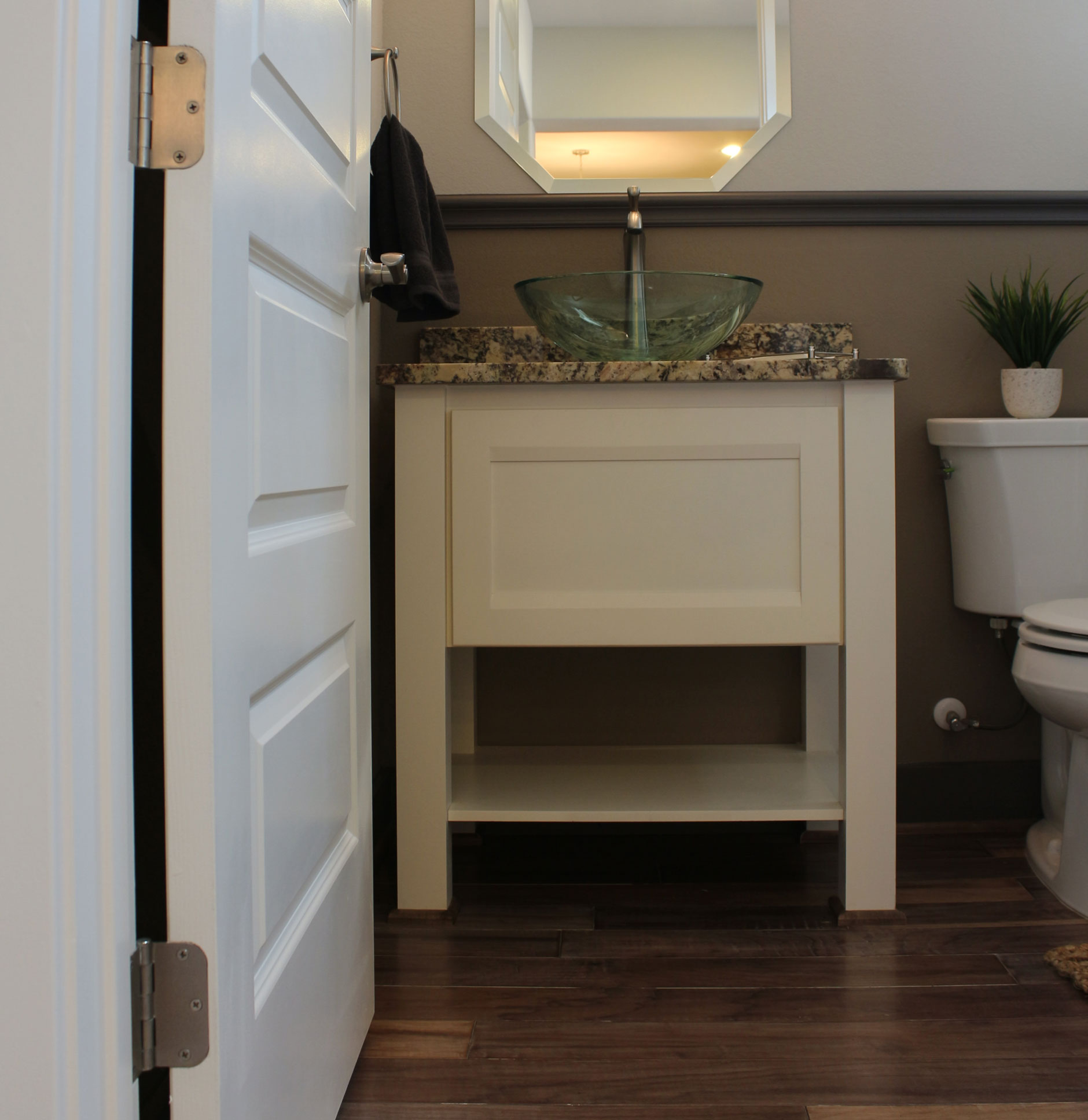 Powder Bath vanity cabinets in Briscoe style in Bone by Burrows Cabinets