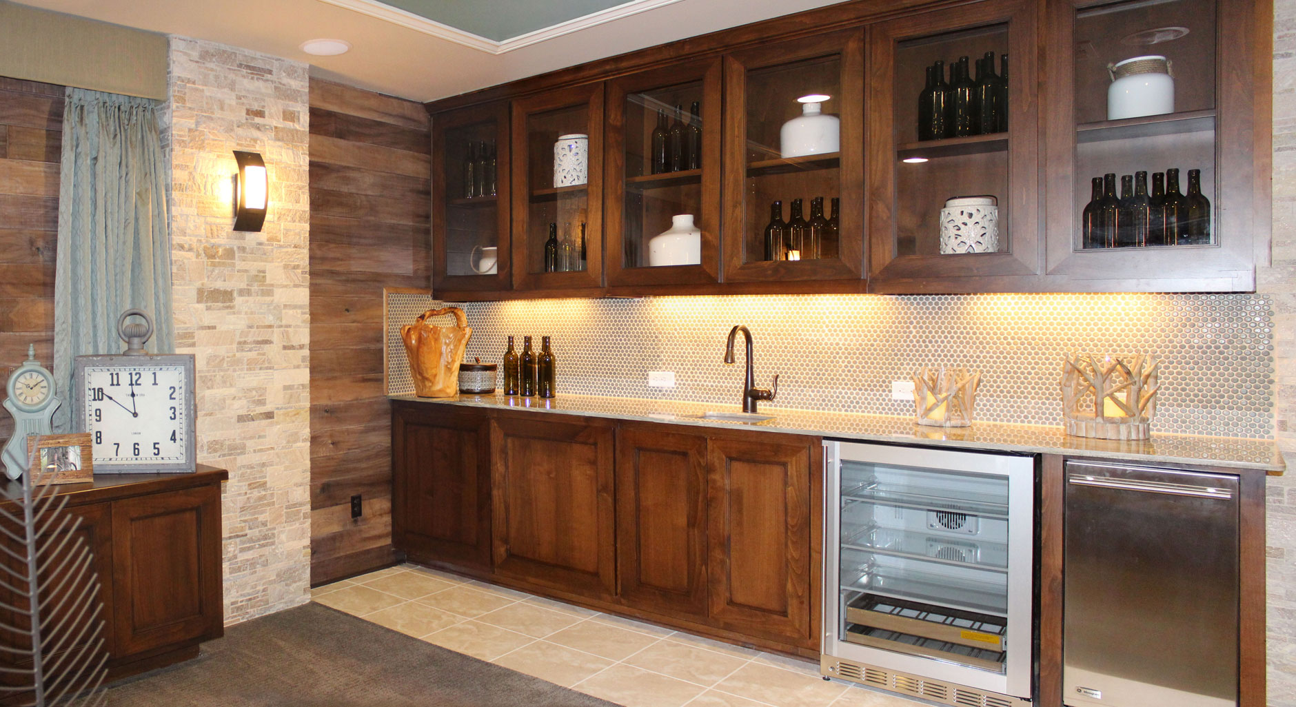 Wet bar cabinets in Terrazzo style by Burrows Cabinets