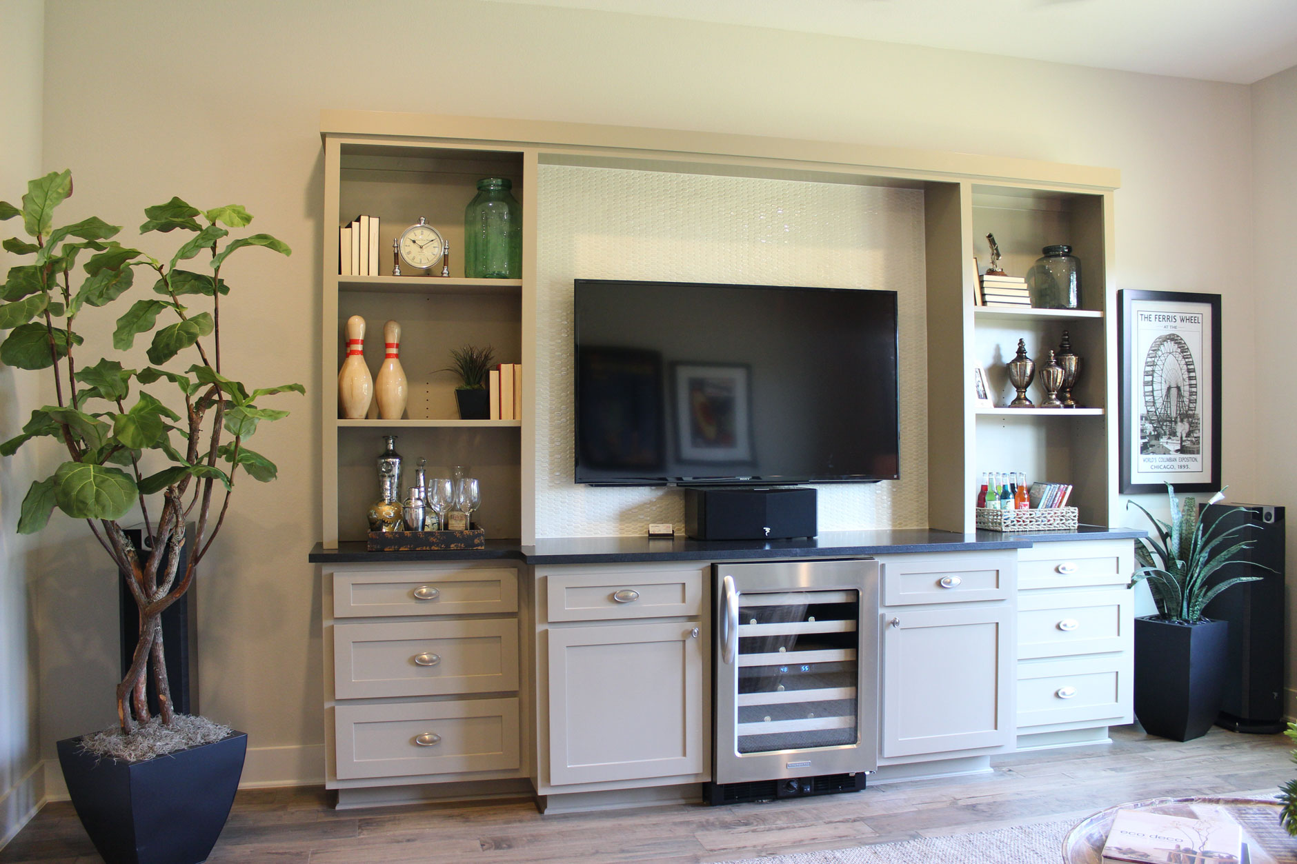 Burrows Cabinets media center with wine storage