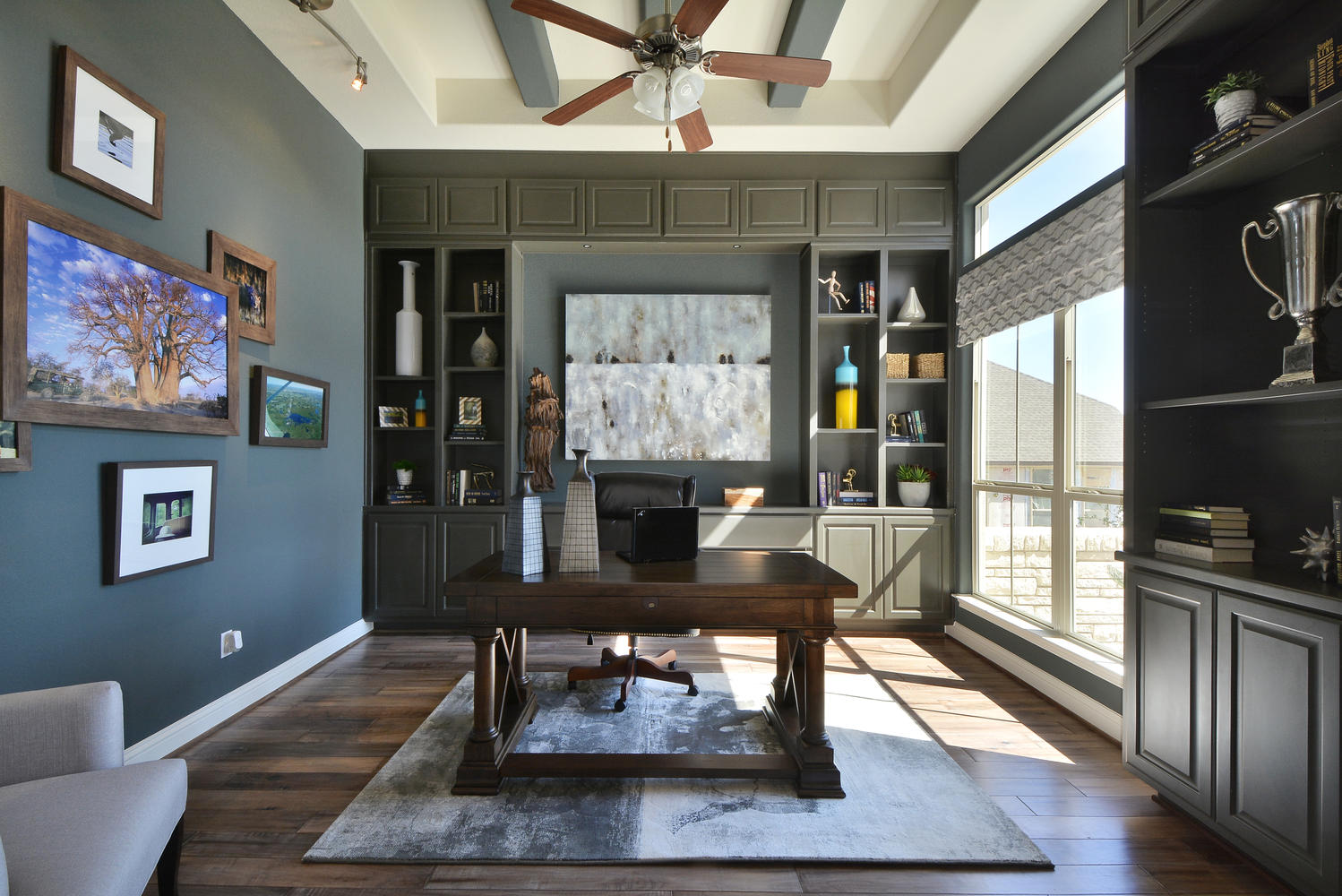 Burrows Cabinets' study with Umber gray cabinets