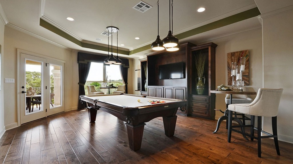 Burrows Cabinets game room media center cabinets in Alder with Verona stain