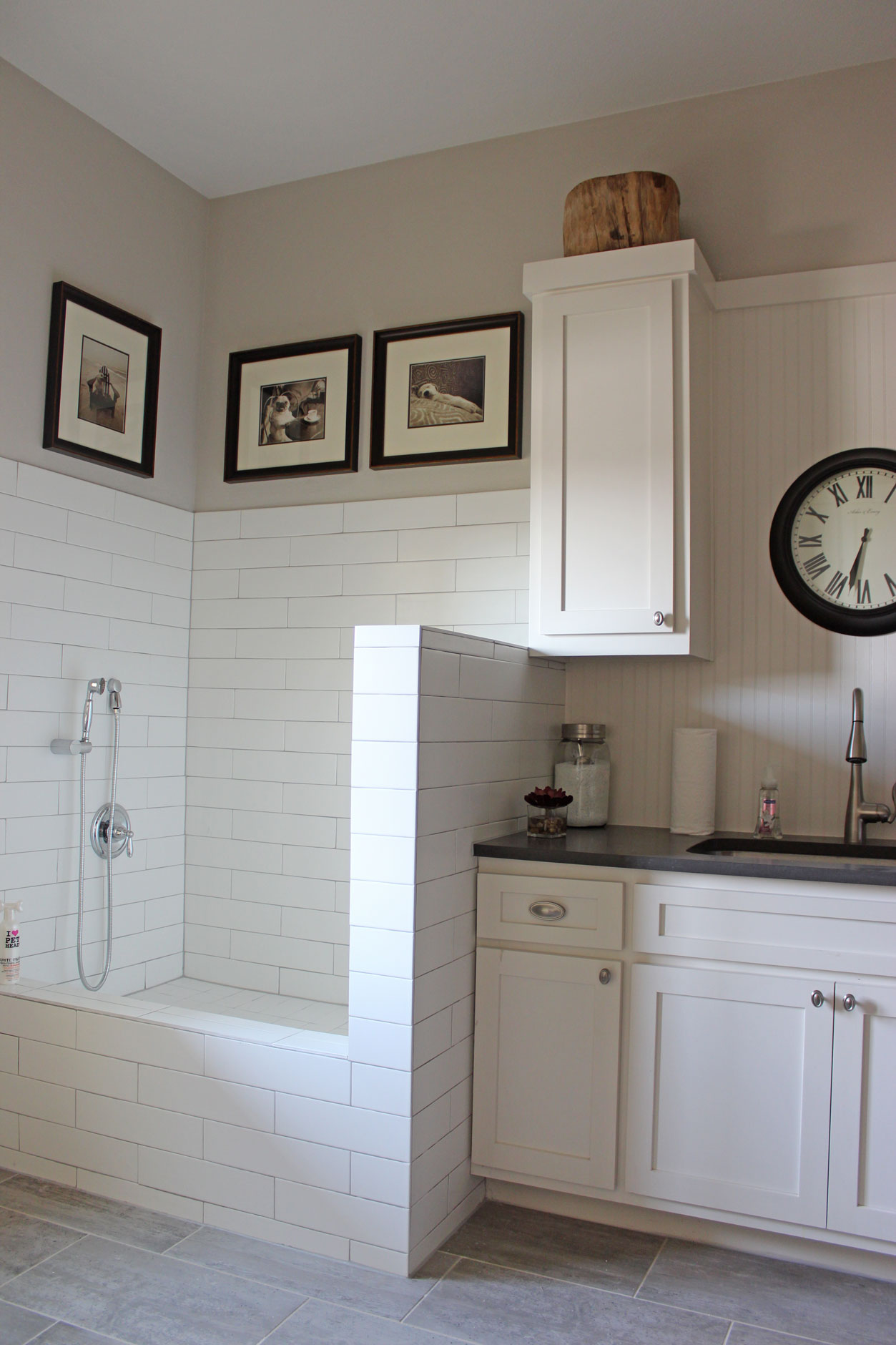 Burrows Cabinets white painted laundry room cabinets with tiled dog shower