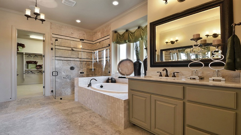 Burrows Cabinets master bath with 2 vanities in Ecru