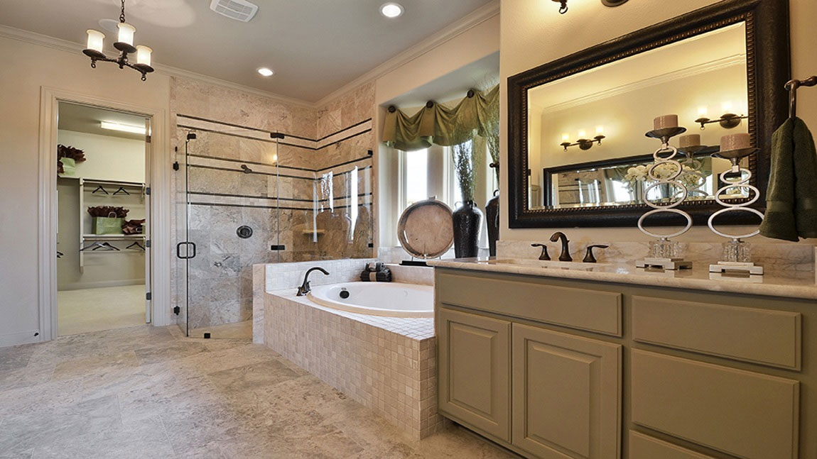 Burrows Cabinets master bath with 2 vanities in Ecru