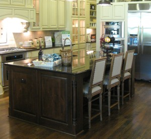 Burrows Cabinets kitchen island with Tuscan posts (C) 2011 Burrows Cabinets