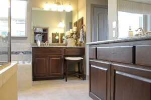 Burrows Cabinets bathroom cabinets in Kona with separate his and hers vanities