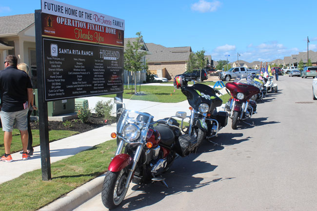 BC Operation Finally Home - Honor Guard Motorcycles and home sign