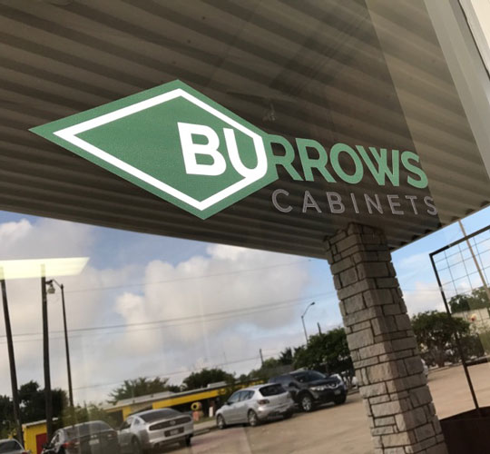 Burrows Cabinets door decal logo install finished