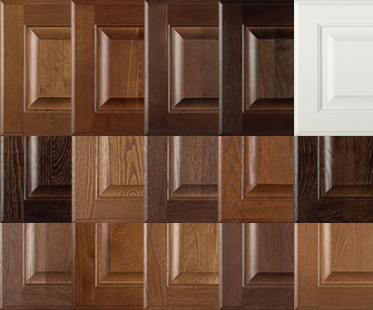 Burrows Cabinets' doors in Bali, Ambrose, Barbado, Kona and Frost