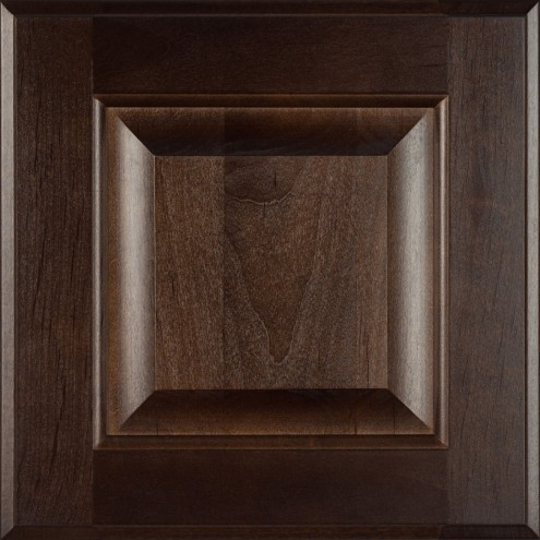 Burrows Cabinets' Clear Alder raised panel door in Kona