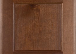 Burrows Cabinets' flat panel door in Knotty Alder Ambrose