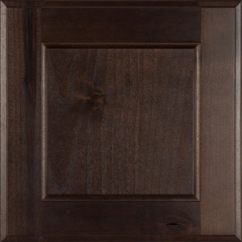 Burrows Cabinets' flat panel door in Knotty Alder Kona