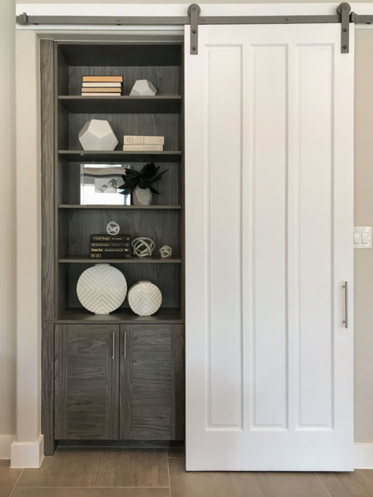 Barn door with bookshelves and cabinet in EVRGRN Rok
