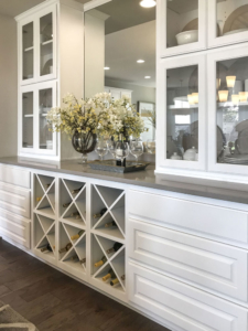 dining hutch with glass doors and big x wine and storage racks in Frost white