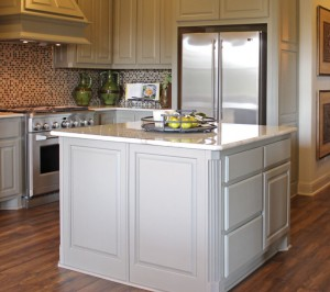 Burrows Cabinets kitchen island in Ecru with beaded integrated corner (C) 2014 Burrows Cabinets